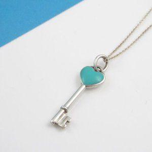 Tiffany & Co Silver Blue Enamel Heart Key Necklace